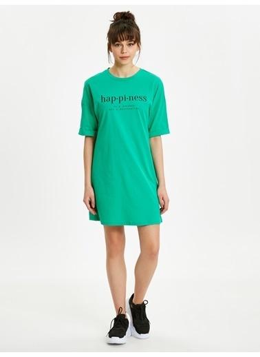 LC Waikiki Yazı Baskılı Pamuklu Elbise Yeşil